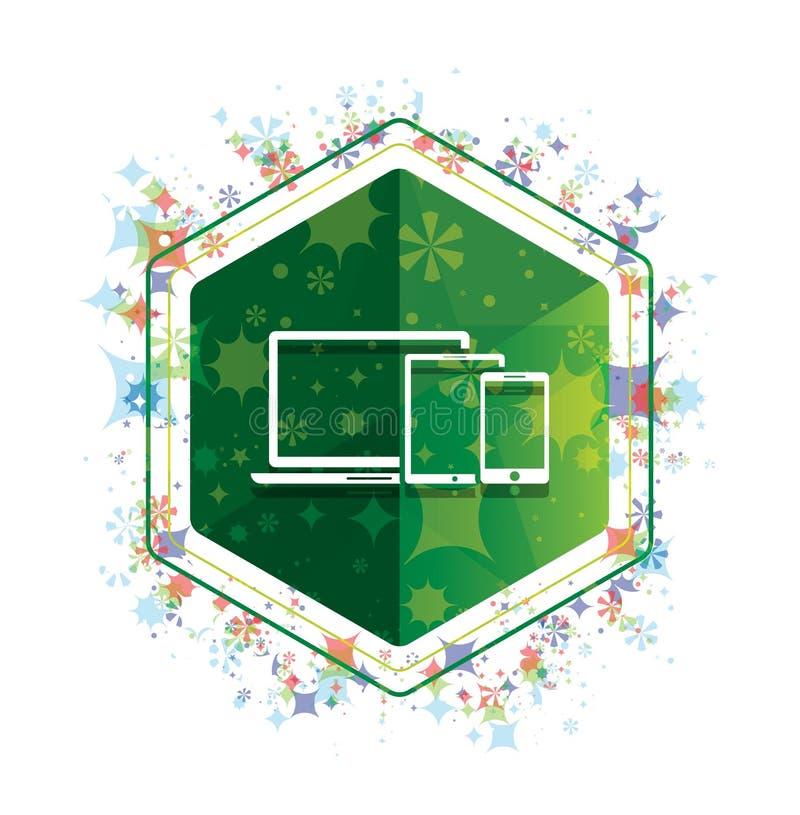 Bouton floral d'hexagone de vert de modèle d'usines d'icône futée de dispositifs de Digital illustration libre de droits