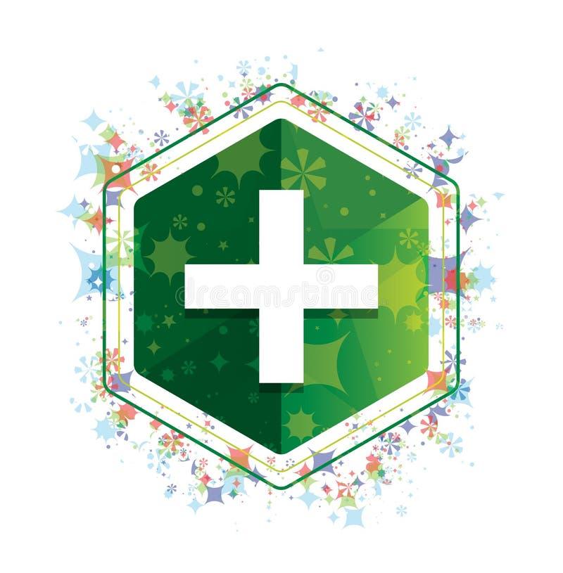 Bouton floral d'hexagone de vert de modèle d'usines d'icône plus illustration stock