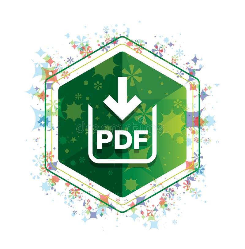 Bouton floral d'hexagone de vert de modèle d'usines d'icône de téléchargement de document de pdf illustration libre de droits