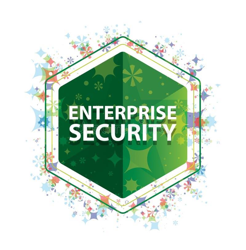 Bouton floral d'hexagone de vert de modèle d'usines de sécurité d'entreprise illustration stock