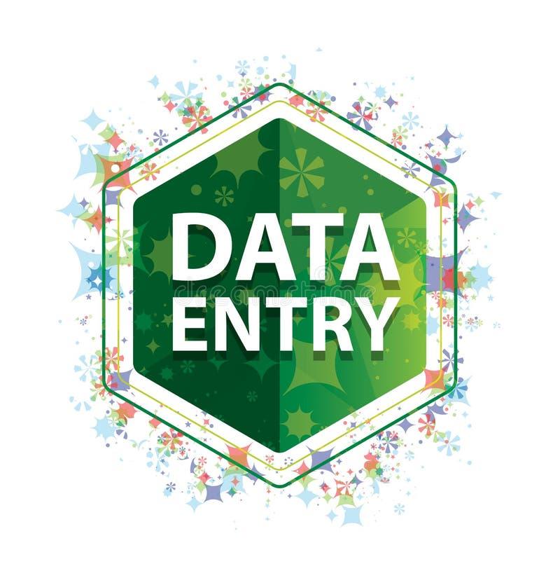 Bouton floral d'hexagone de vert de modèle d'usines de saisie de données illustration stock