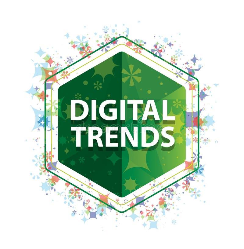 Bouton floral d'hexagone de vert de modèle d'usines de tendances de Digital illustration libre de droits