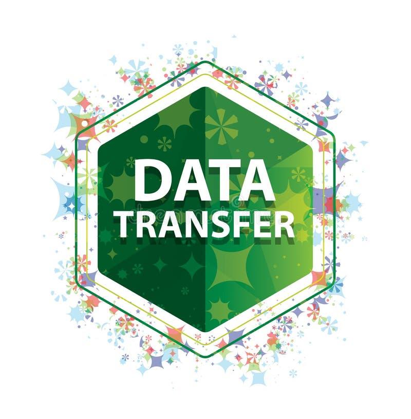 Bouton floral d'hexagone de vert de modèle d'usines de transfert des données illustration libre de droits