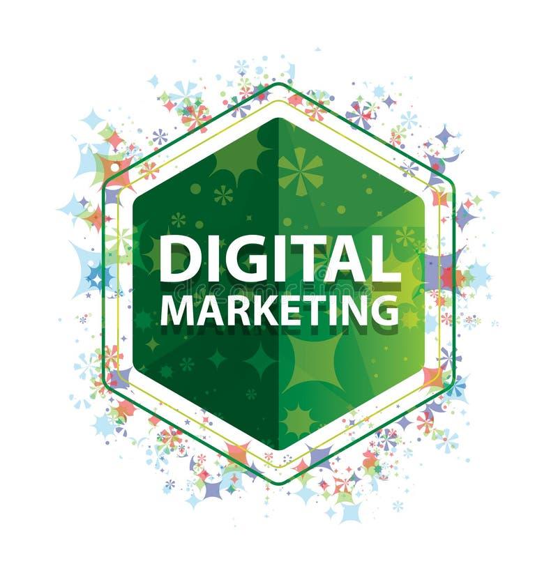 Bouton floral d'hexagone de vert de modèle d'usines de vente de Digital illustration stock