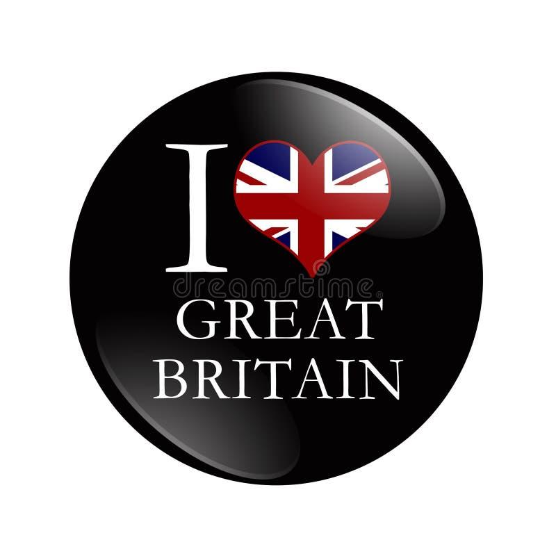 Bouton I Love Great Britain illustration de vecteur