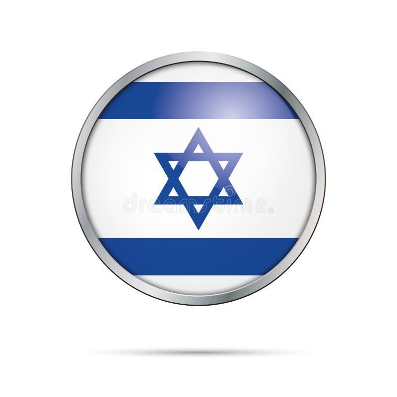 Bouton israélite de drapeau de vecteur Drapeau de l'Israël dans le style en verre de bouton illustration stock