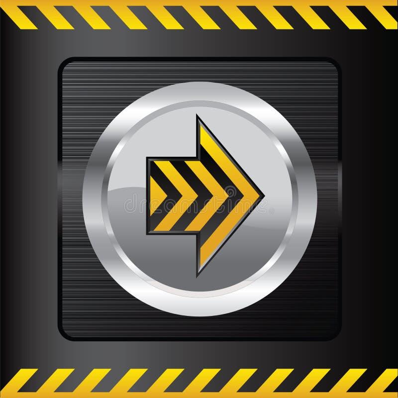 Bouton jaune de danger sur un fond en acier illustration libre de droits