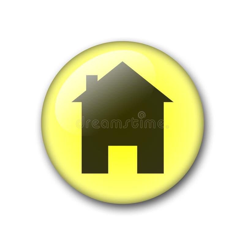Bouton jaune de maison de Web illustration de vecteur