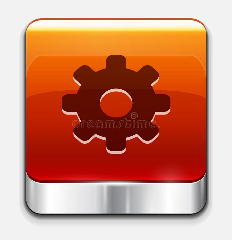 Bouton lustré rouge de configurations. Graphisme de vecteur illustration stock