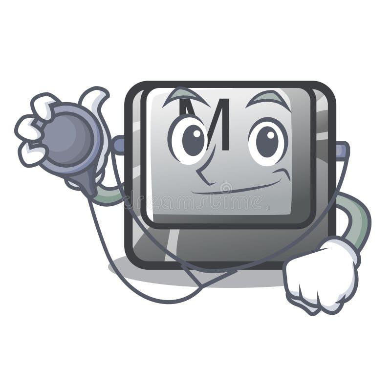 Bouton M de docteur sur une mascotte de clavier illustration de vecteur