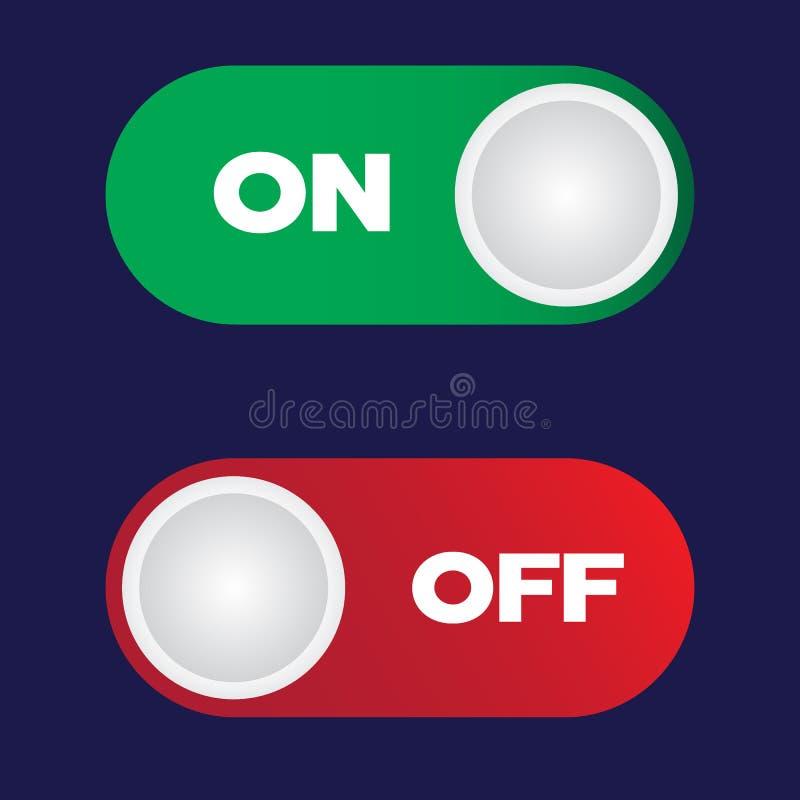 Bouton marche-arrêt d'inverseur Rouge et vert illustration de vecteur