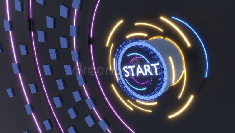Bouton marche avec des lumières d'hologrammes, illustration 3d photos stock