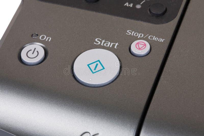 Bouton marche d'imprimante images libres de droits