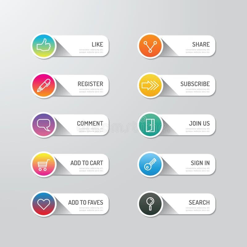 Bouton moderne de bannière avec des options sociales de conception d'icône Défectuosité de vecteur