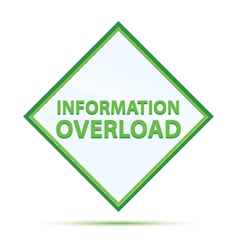 Bouton moderne de diamant de vert d'abrégé sur surcharge d'information illustration libre de droits