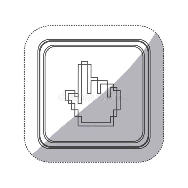 bouton monochrome de place de silhouette d'autocollant avec la main pixelated se dirigeant  illustration libre de droits