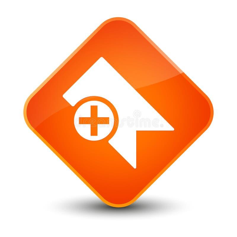 Bouton orange élégant de diamant d'icône de repère illustration stock
