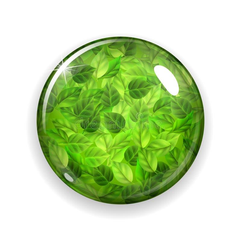 Bouton ou sphère en verre avec les feuilles vertes illustration libre de droits