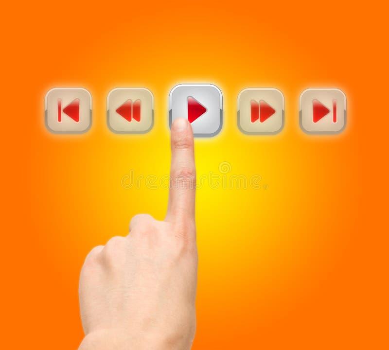 Bouton-poussoir de bras, écran tactile illustration libre de droits