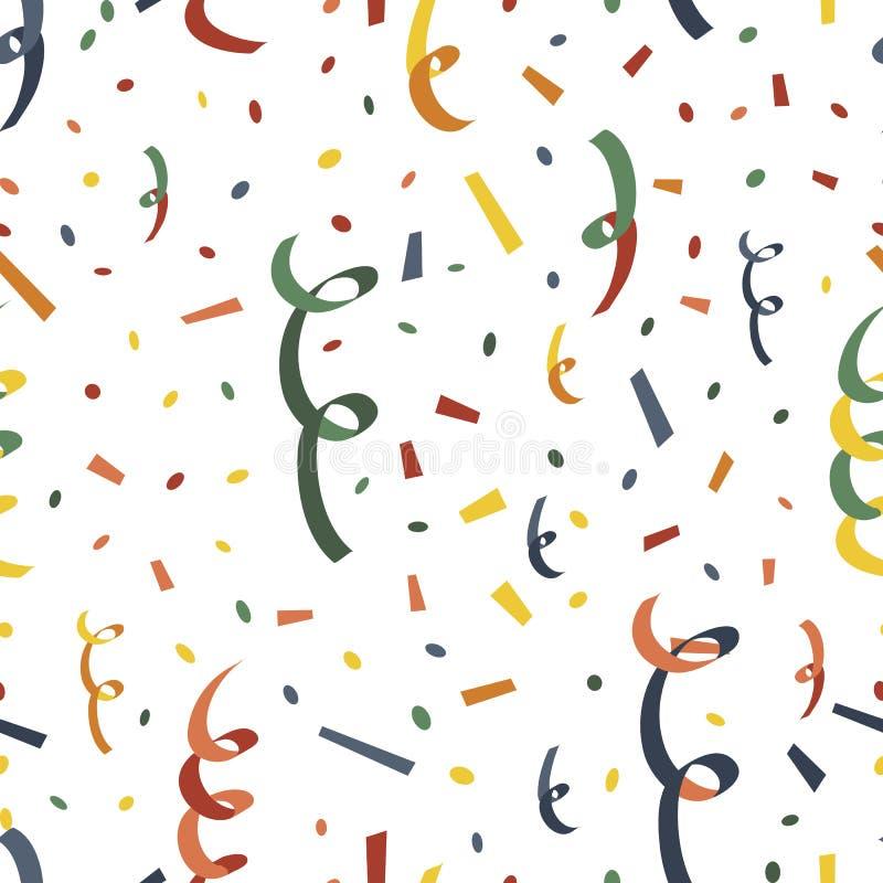 Bouton-pression de explosion de partie avec le serpantin et les confettis illustration de vecteur