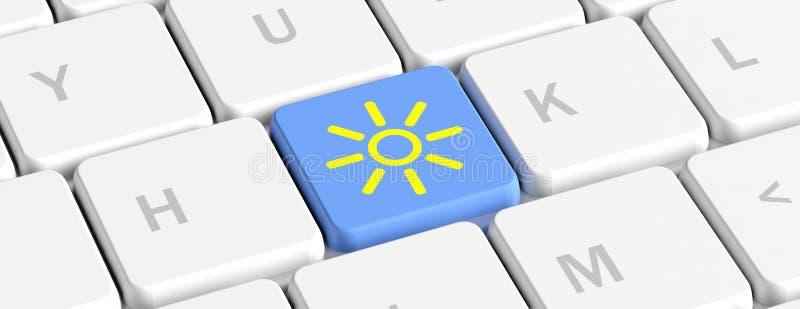 Bouton principal bleu de prévisions météorologiques avec l'icône du soleil sur un clavier d'ordinateur, bannière illustration 3D illustration de vecteur