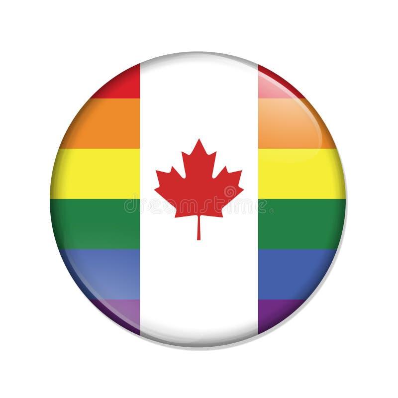 Bouton rayé d'insigne de drapeau de fierté canadienne illustration de vecteur