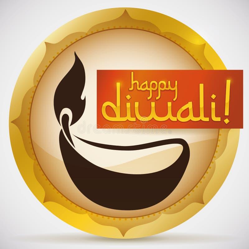 Bouton rond avec Diya Silhouette et ruban pour la célébration de Diwali, illustration de vecteur illustration libre de droits