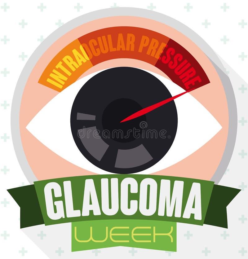 Bouton rond avec l'oeil, le manomètre et le ruban commémorant la semaine de glaucome, illustration de vecteur illustration de vecteur