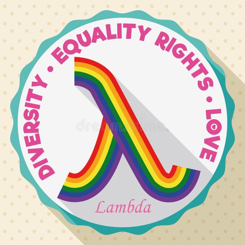 Bouton rond avec le symbole coloré de lambda pour des droites d'égalité de LGBT, illustration de vecteur illustration de vecteur