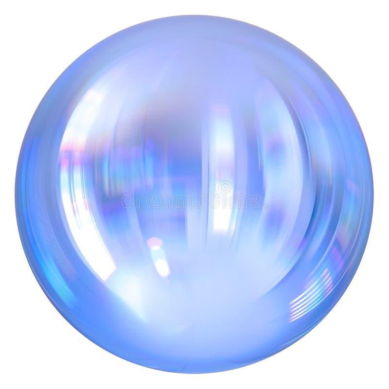 Bouton rond blanc de sphère, boule argentée, baisse de chrome de globe illustration stock
