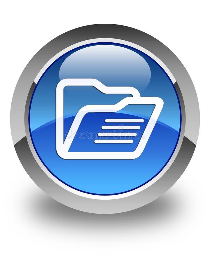 Bouton rond bleu brillant d'icône de dossier illustration stock