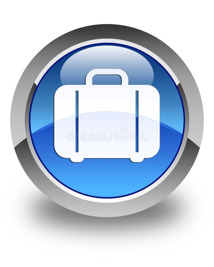 Bouton rond bleu brillant d'icône de sac illustration stock