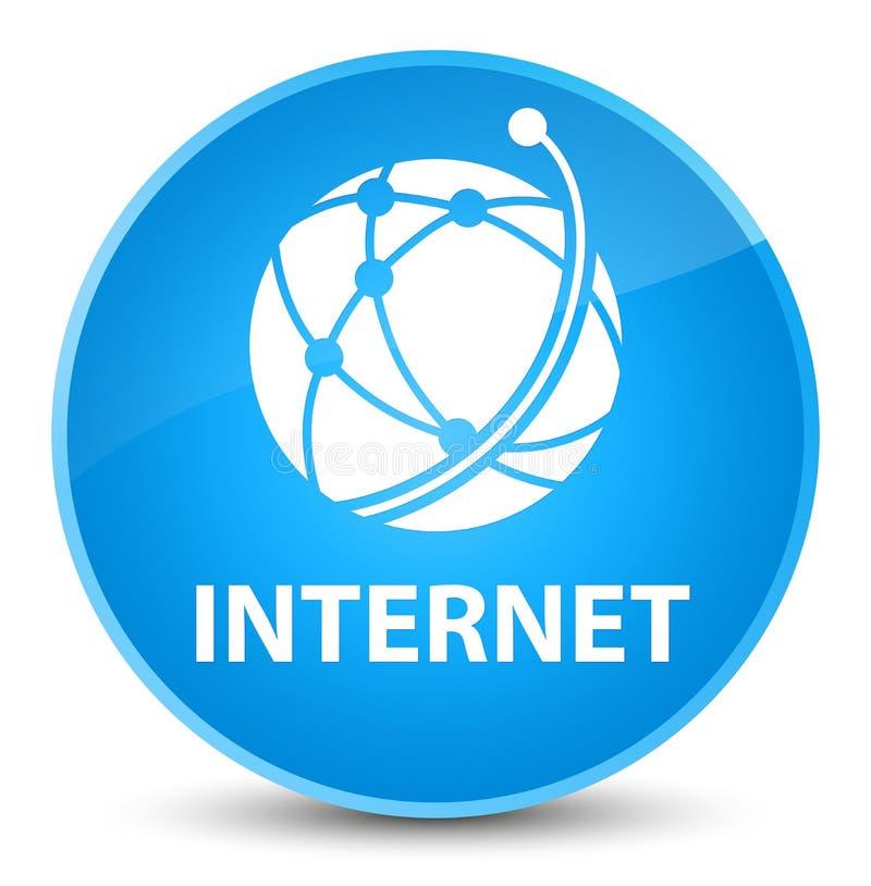 Bouton rond bleu cyan élégant d'Internet (icône de réseau global) illustration stock