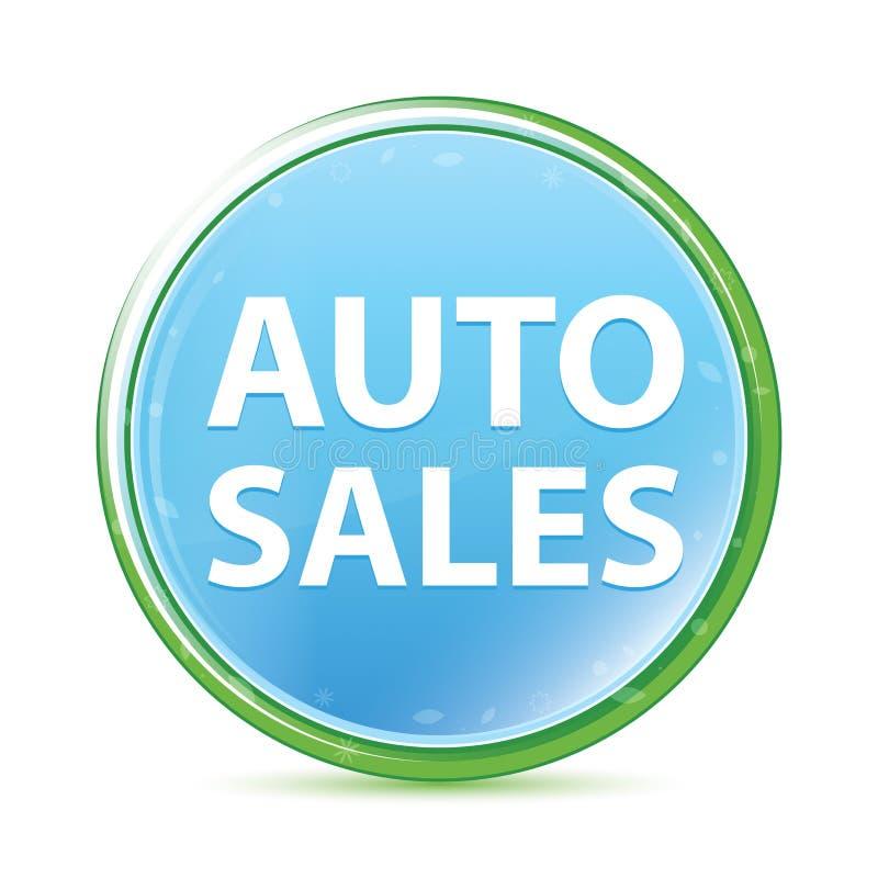 Bouton rond bleu cyan d'aqua naturel de ventes automatiques illustration de vecteur