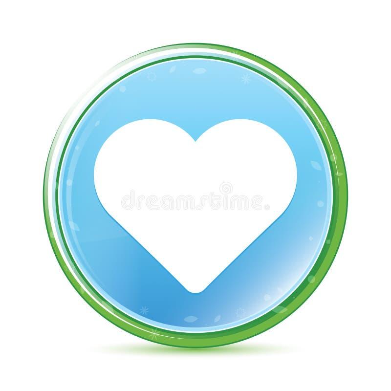 Bouton rond bleu cyan d'aqua naturel d'icône de coeur illustration libre de droits