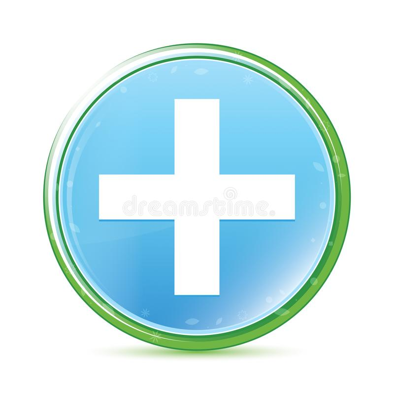Bouton rond bleu cyan d'aqua naturel plus d'icône illustration de vecteur