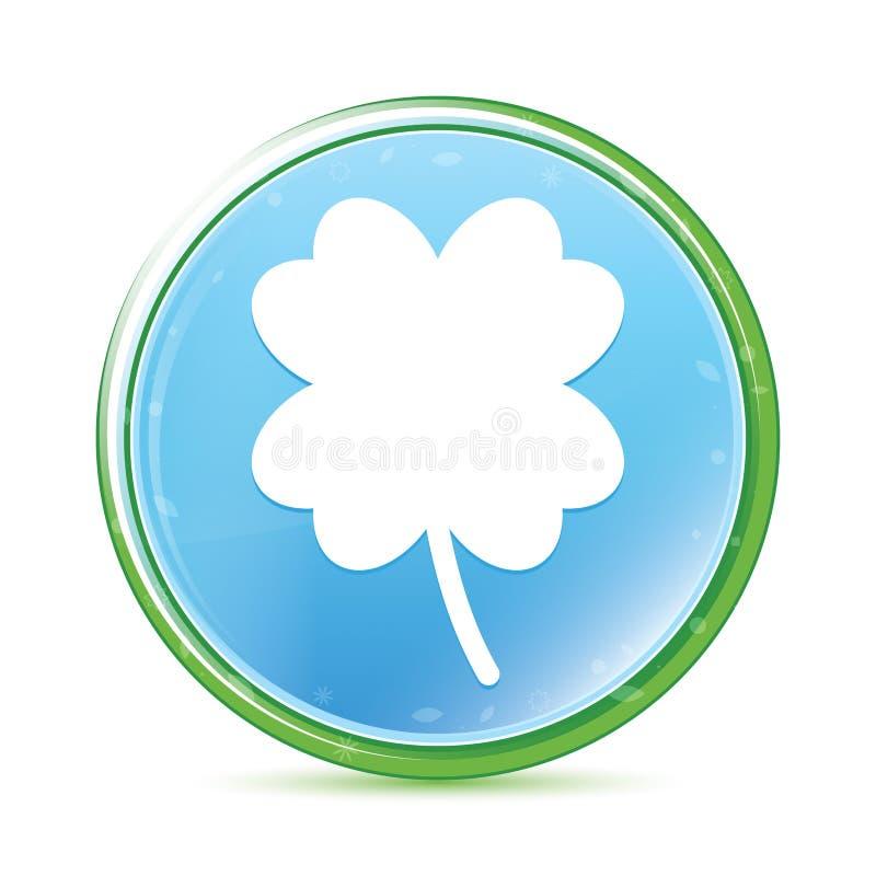 Bouton rond bleu cyan de quatre feuilles de trèfle d'aqua naturel chanceux d'icône illustration stock
