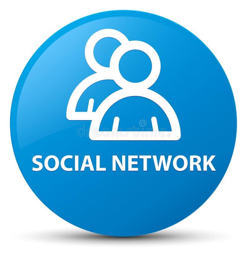 Bouton rond bleu cyan social de réseau (icône de groupe) illustration stock