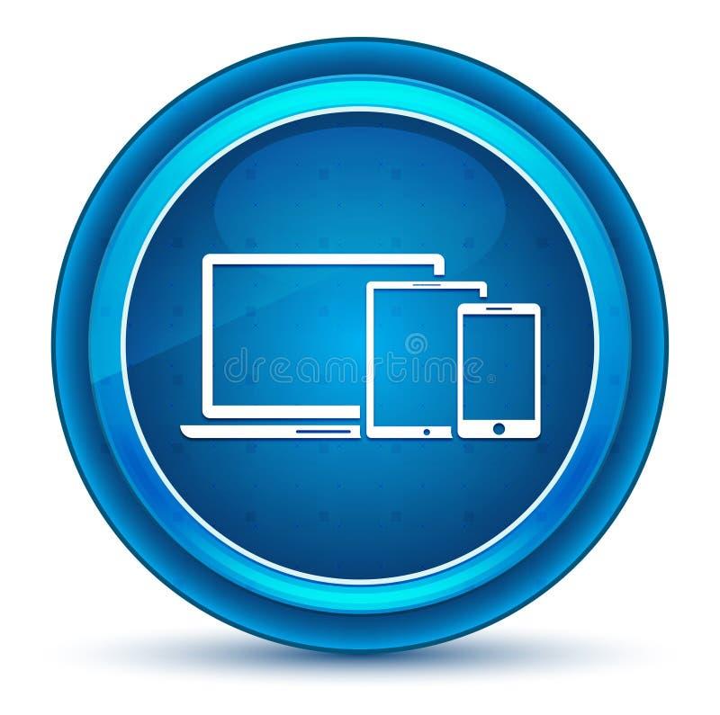 Bouton rond bleu de dispositifs de Digital de globe oculaire futé d'icône illustration libre de droits