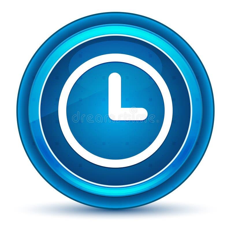 Bouton rond bleu de globe oculaire d'icône d'horloge illustration stock