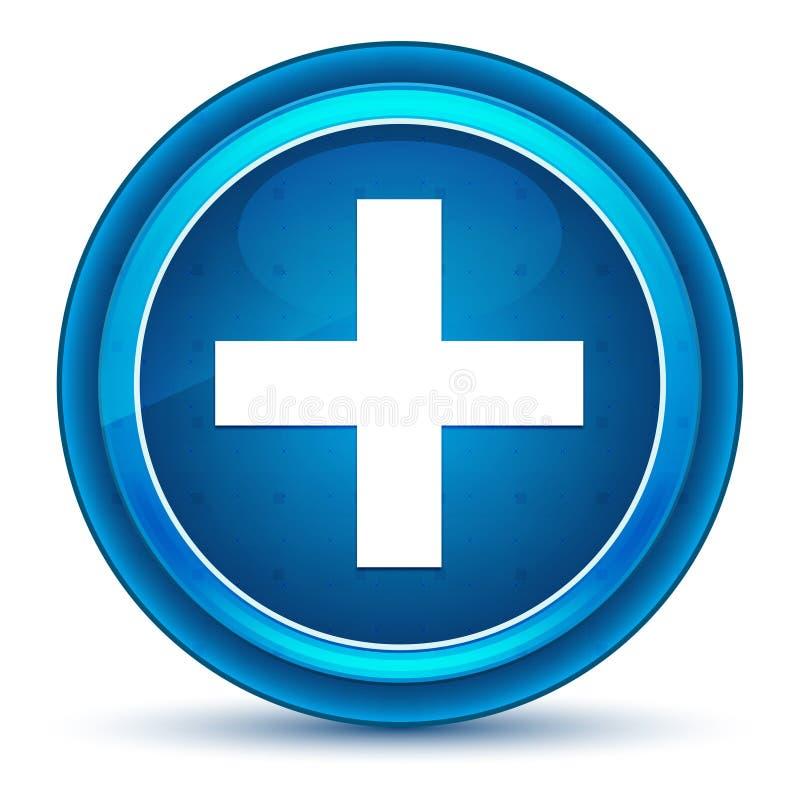 Bouton rond bleu de globe oculaire plus d'icône illustration libre de droits