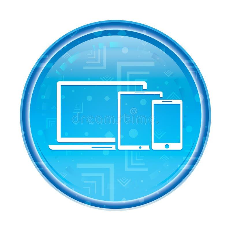 Bouton rond bleu floral d'icône futée de dispositifs de Digital illustration libre de droits