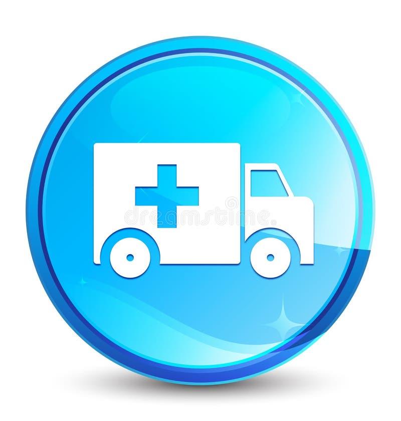 Bouton rond bleu naturel d'éclaboussure d'icône d'ambulance illustration de vecteur