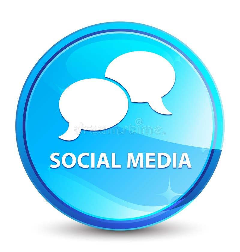 Bouton rond bleu naturel d'éclaboussure sociale de médias (icône de bulle de causerie) illustration de vecteur