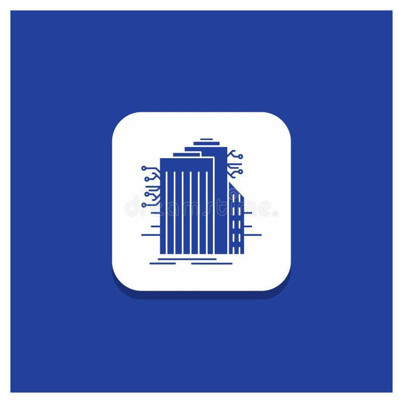 Bouton rond bleu pour construire, technologie, Smart City, relié, icône de Glyph d'Internet illustration de vecteur