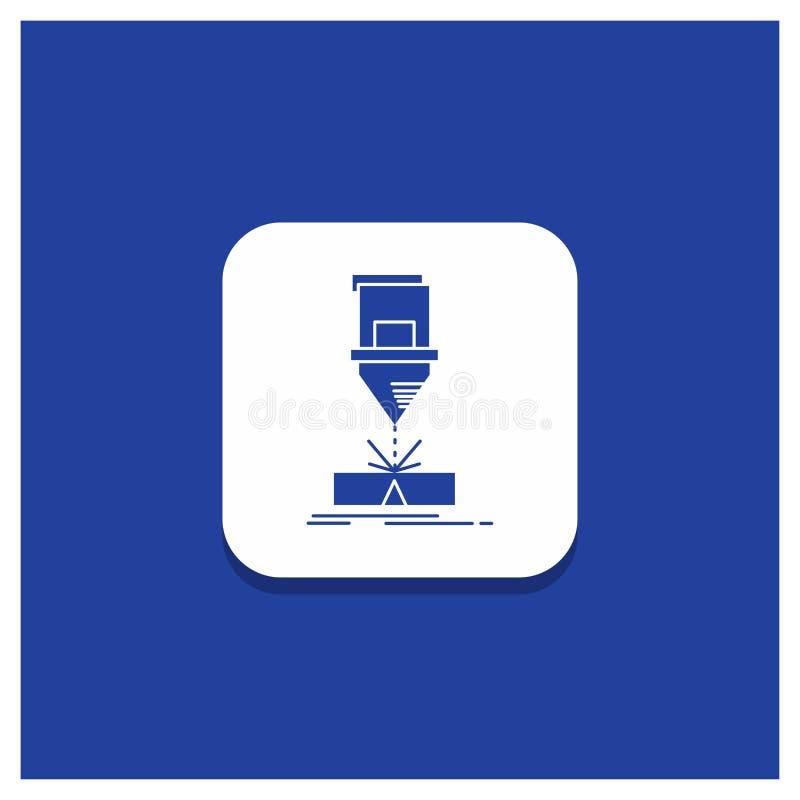 Bouton rond bleu pour couper, ingénierie, fabrication, laser, icône en acier de Glyph illustration de vecteur
