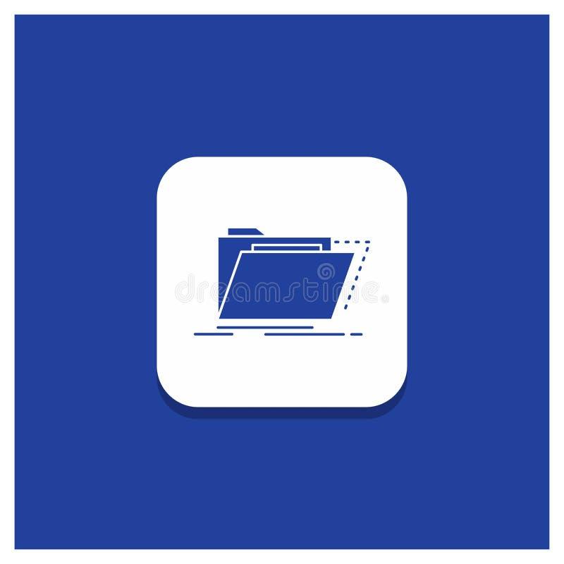 Bouton rond bleu pour des archives, catalogue, annuaire, dossiers, icône de Glyph de dossier illustration de vecteur
