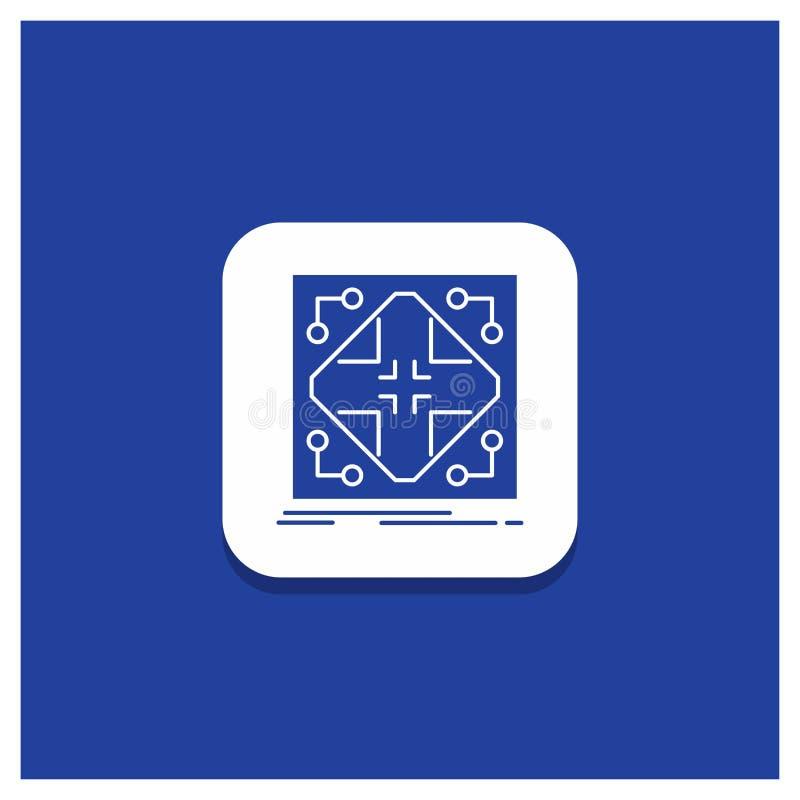 Bouton rond bleu pour des données, infrastructure, réseau, matrice, icône de Glyph de grille illustration libre de droits