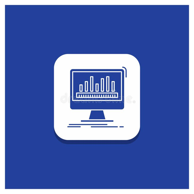 Bouton rond bleu pour l'analytics, traitant, tableau de bord, données, icône de Glyph de stat illustration de vecteur