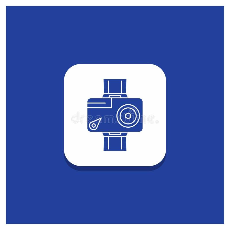 Bouton rond bleu pour la caméra, action, numérique, visuelle, icône de Glyph de photo illustration stock